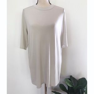 Eileen Fisher Silk Stretch Jersey Mock Neck Top L